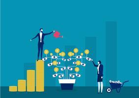Arbre d'argent en croissance. Déposez des bénéfices et des affaires en croissance. vecteur