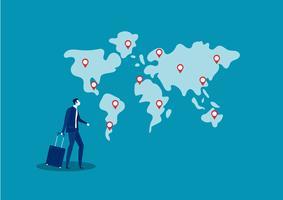 homme d'affaires de voyage et de recherche de lieu pour l'investissement des entreprises à l'étranger vecteur