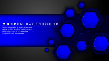 Fond tech hexagones en métal brillant bleu et noir vecteur