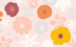 Fond d'affiche de fleurs et feuilles colorées vecteur