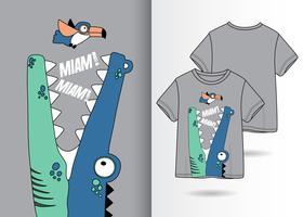 Crocodile mignon dessiné à la main avec la conception de t-shirt vecteur