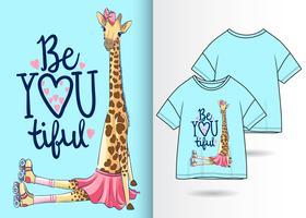 Girafe mignonne dessinée à la main avec la conception de t-shirt vecteur