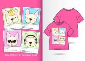 T-shirt dessiné à la main avec un cadre de média social animal