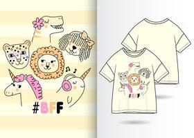 BFF Animaux Dessinés à La Main T Shirt Design vecteur