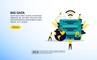 Icônes de concept de données volumineuses vecteur