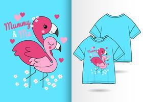 T-shirt Flamingo dessiné à la main par maman et moi vecteur