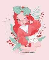 Main dessinée jolie fille faisant signe de la paix, chat et typographie