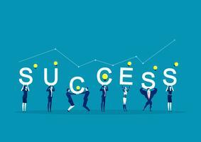 Employés de bureau tenant le mot succès vecteur