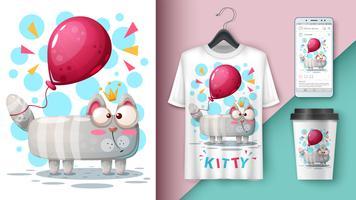 Chat et ballon - maquette pour votre idée