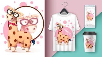Girafe folle - maquette pour votre idée vecteur