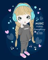 Main dessinée jolie fille portant des écouteurs avec la typographie