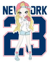 Main dessinée jolie fille de baseball avec la typographie vecteur