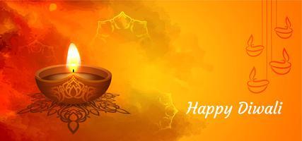 Bannière de voeux Happy Diwali festival indien