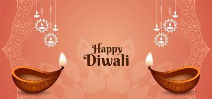 Fête indienne Carte de voeux Happy Diwali vecteur