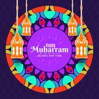 Carte de voeux islamique coloré Muharran heureux