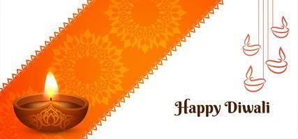 Bannière du festival orange joyeux Diwali vecteur