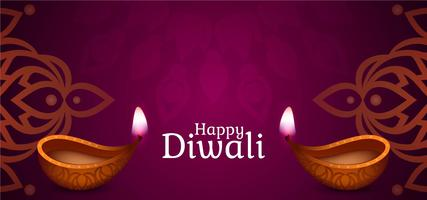 Joyeux Diwali design violet vecteur