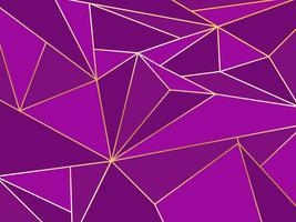 Polygone violet abstrait artistique géométrique avec le fond de la ligne d'or vecteur