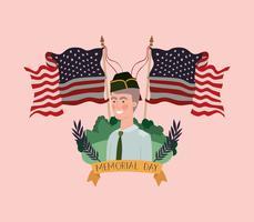militaire avec uniforme sur le terrain avec les drapeaux des États-Unis croisés