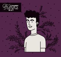 carte de fête des pères heureux avec papa et feuilles décoration de plantes