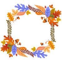 Feuilles d'automne cadre floral pour carte ou affiche vecteur