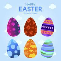 Six oeufs de Pâques avec motif d'ornement coloré