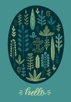design floral avec des herbes mignonnes et des feuilles. vecteur