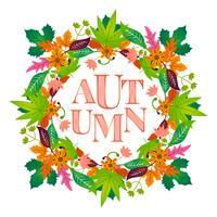 Cadre floral automne avec feuille colorée
