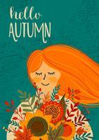 Bonjour la carte d'automne vecteur