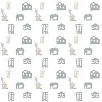 Modèle sans couture de vecteur scandinave avec des maisons de griffonnage dessinés à la main