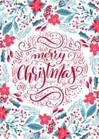 Motif floral lettrage calligraphique joyeux Noël vecteur