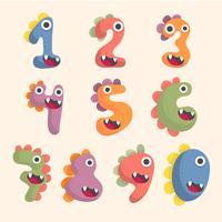 jeu de polices numéro mignon de dinosaure vecteur
