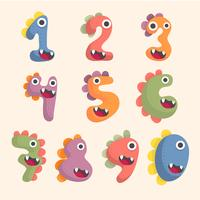 jeu de polices numéro mignon de dinosaure
