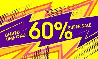Bannière jaune vibrante abstraite de super vente