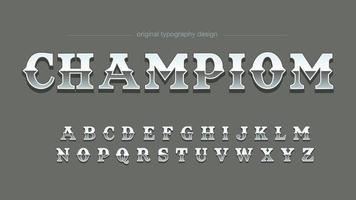 Typographie artistique vintage en acier chromé