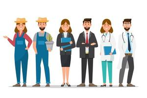 Un groupe de personnes dans différentes professions vecteur
