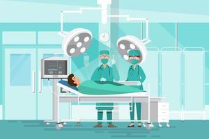Médecins de l'équipe de chirurgiens opérant vecteur