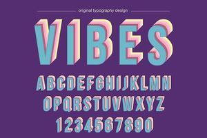 Typographie surélevée colorée vintage