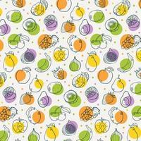 Modèle sans couture de fruits sains dessinés à la main