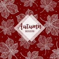 Fond de feuilles d'automne coloré main dessinée Drawn