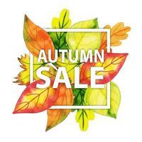 Typographie automne aquarelle avec cadre de feuilles