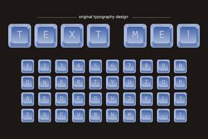 Typographie des touches du clavier bleu