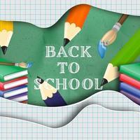Message de retour à l'école sur la conception de papier découpé en couches