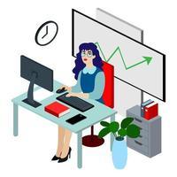 Illustration de plat travailleur isométrique de bureau. Beau jeune personnage travaillant. vecteur