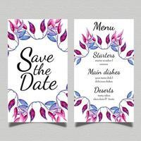 Carte de menu de mariage aquarelle