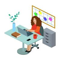 Illustration de plat travailleur isométrique de bureau. Beau jeune personnage travaillant.