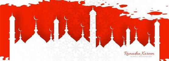 Belle bannière rouge Ramadan Kareem vecteur