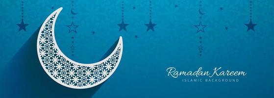 Conception de modèle de bannière Festival bleu islamique vecteur