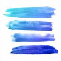 Aquarelle colorée abstraite Strokes Set Blue vecteur
