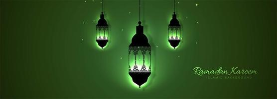 Modèle kareem de la belle lanterne verte Ramadan vecteur